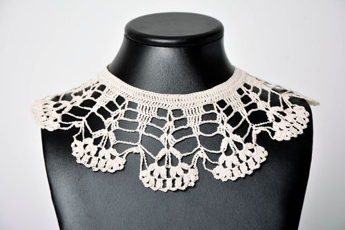 Handmade crocheted collar stylish designer collar openwork accessory gift - MADEheart.com