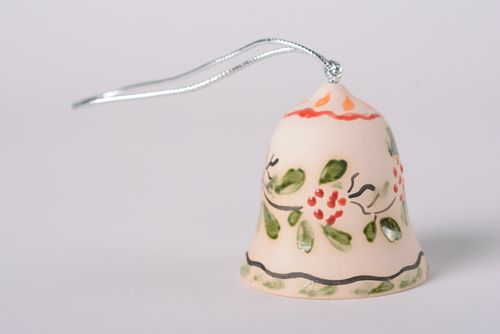 Handmade tender decorative maiolica ceramic bell with floral glaze painting - MADEheart.com
