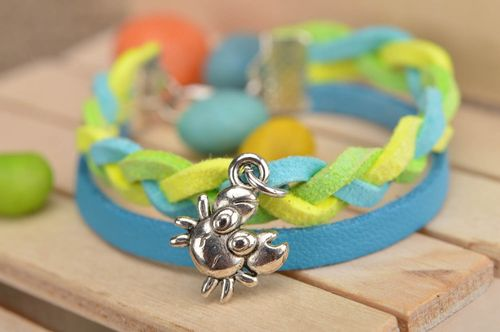 Handmade designer genuine leather cord wrist bracelet blue and yellow with charm - MADEheart.com