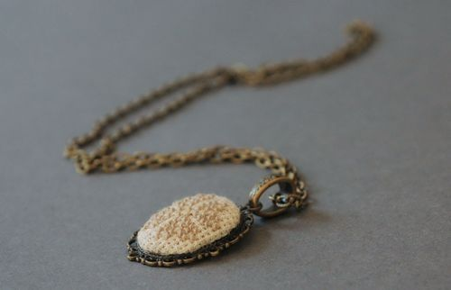 Vintage pendant with embroidery - MADEheart.com