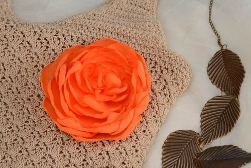 Beautiful brooch-hair pin Orange flower - MADEheart.com