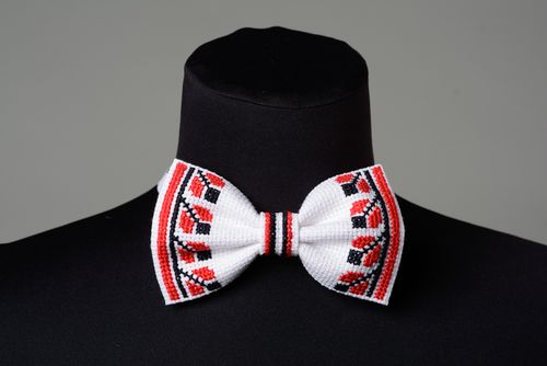Handmade white festive bow tie with cross stitch embroidery in ethnic style for men - MADEheart.com