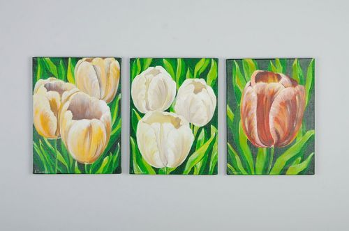 Triptych made with acrylic paints Tulips - MADEheart.com