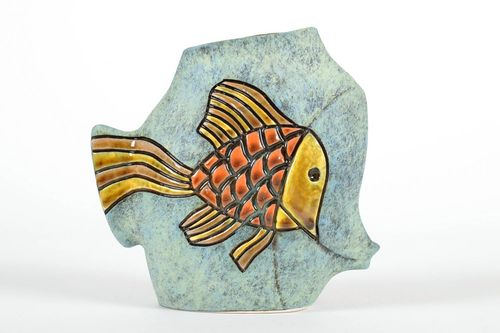 7 inches tall square ceramic vase with Gold fish painting great gift for fisherman 1,25 lb - MADEheart.com