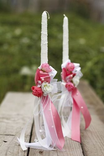 Wedding candle with pink ribbons - MADEheart.com