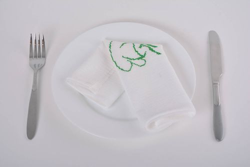 Embroidered handmade napkin made of natural cotton Cup of coffee - MADEheart.com