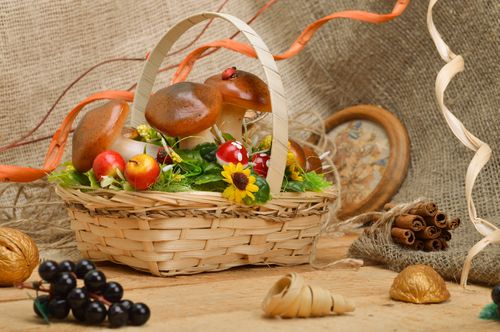 Handmade decorative sisal basket with fruit and mushrooms and frog figurine interior composition - MADEheart.com