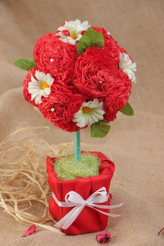 Handmade decorative large red topiary with artificial flowers for interior  - MADEheart.com