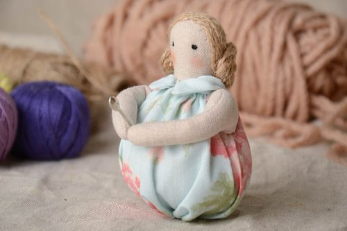 Unusual beautiful handmade chintz fabric soft toy Doll for Cup - MADEheart.com