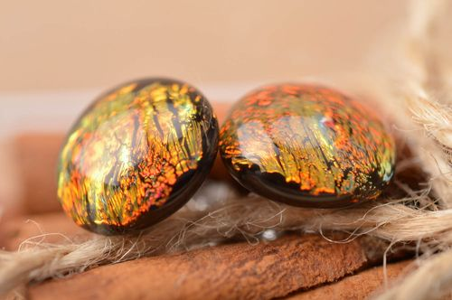 Handmade designer round small stud dichroic glass earrings Sands of Sahara - MADEheart.com