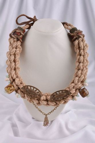 Woven necklace with natural stones handmade cord necklace designer accessories - MADEheart.com