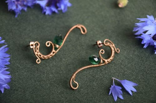 Beautiful unusual handmade long wire wrapped copper earrings with green crystal  - MADEheart.com