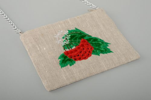 Linen clutch bag with embroidery and chain handle - MADEheart.com