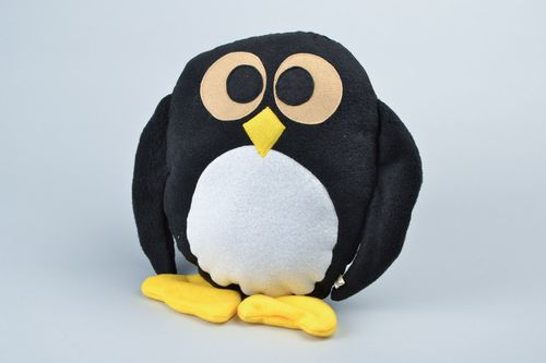 Handmade soft pillow pet in the shape of funny black and yellow penguin  - MADEheart.com