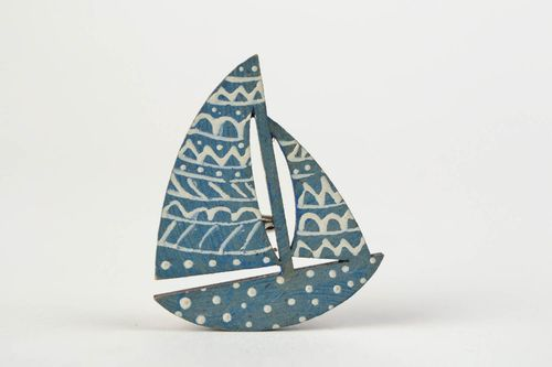 Handmade designer wooden brooch painted with acrylics blue Sailboat - MADEheart.com