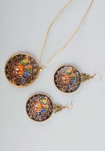 Jewelry set (earrings+pendant) Griffon - MADEheart.com