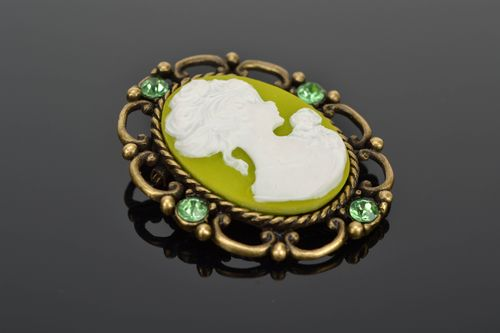 Polymer clay cameo brooch Spring - MADEheart.com