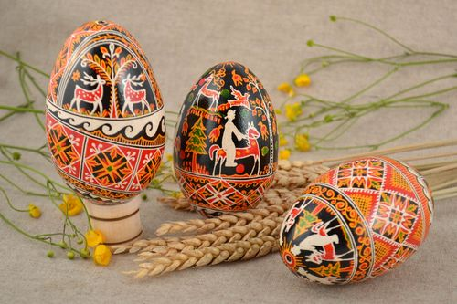 Colorful painted goose Easter eggs set 3 pieces hand made with patterns - MADEheart.com