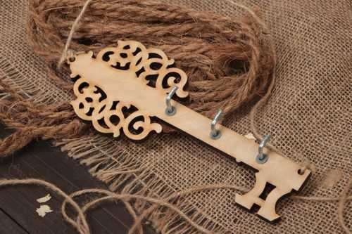 Handmade plywood craft blank for decoration figured key hanger with hooks - MADEheart.com
