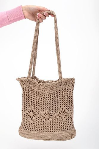 Handmade knitted purse of viscose filament - MADEheart.com