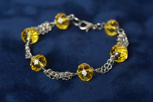 Handmade designer wrist bracelet with yellow glass beads and metal chain - MADEheart.com