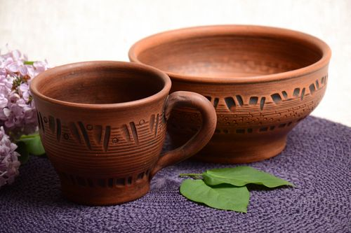 Designer interior set of ceramic pottery handmade cup and bowl 400 and 700 ml - MADEheart.com