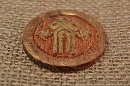 Handmade small table wooden amulet with symbol Chur made of acacia - MADEheart.com
