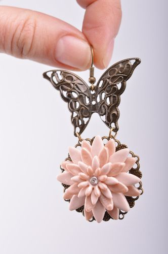 Handmade womens plastic earrings with charms in the shape of butterflies on aster flowers - MADEheart.com
