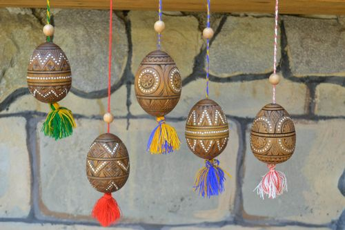 Handmade Easter eggs wood decor Easter table decoration wooden eggs Easter gifts - MADEheart.com