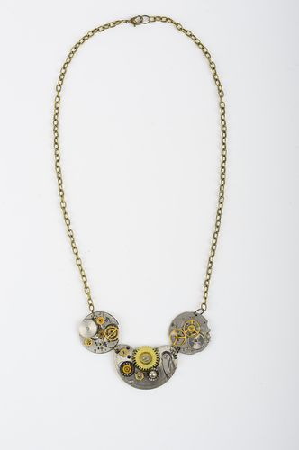 Designer handmade steampunk jewelry steampunk pendant chain necklace for women - MADEheart.com