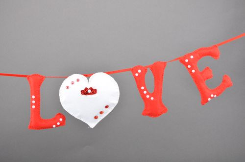 Handmade interior decorative wall letters sewn of red and white felt Love - MADEheart.com
