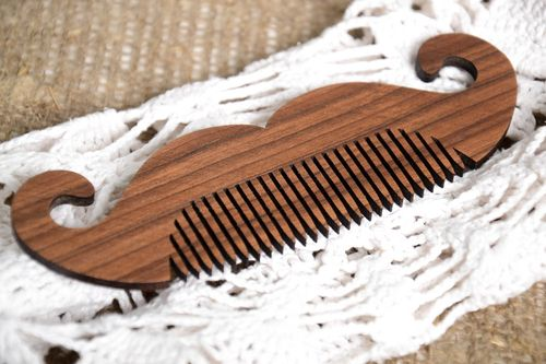 Unusual handmade wooden beard comb best mustache comb hair comb for men - MADEheart.com