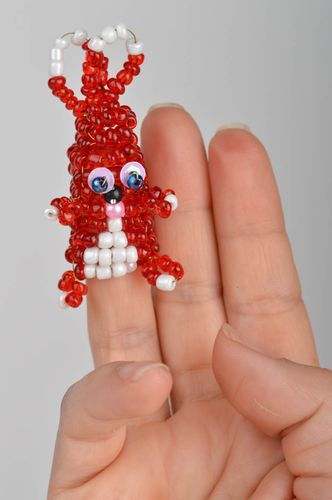 Funny unusual cute rabbit made of beads handmade red finger doll for kids - MADEheart.com