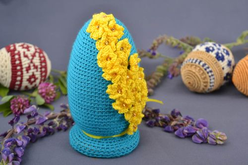 Handmade decorative macrame Easter egg on wooden basis blue with yellow flowers - MADEheart.com