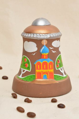 Beautiful painted handmade ceramic bell designer clay bell art ceramics  - MADEheart.com