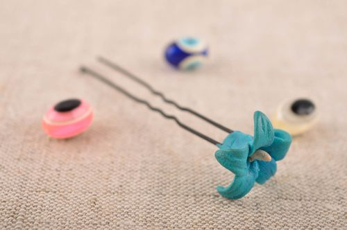 Handmade hair pin designer hair pin with flower unusual accessories gift ideas - MADEheart.com