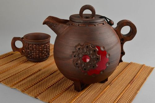 Unusual handmade ceramic teapot clay teapot design kitchen supplies ideas - MADEheart.com