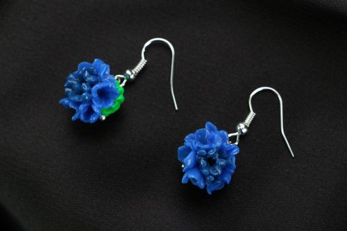 Polymer clay earrings Bouquet of Forget-Me-Nots - MADEheart.com