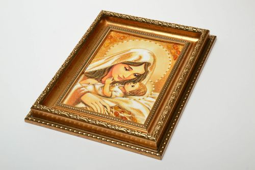 Orthodox amber icon Virgin Mary and the Child - MADEheart.com