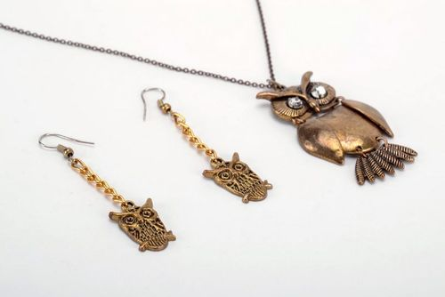 Metal jewelry set Owl - MADEheart.com
