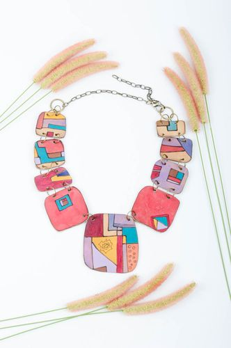 Leather necklace handmade neck accessory colorful necklace present for her - MADEheart.com
