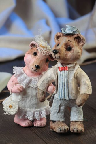 Handmade designer paper mache painted figurines of bear bride and groom - MADEheart.com