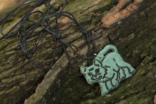 Handmade designer polymer clay pendant necklace in the shape of kitten on cord  - MADEheart.com