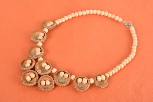 Necklace with wooden beads and acorns handmade designer accessory in eco-style - MADEheart.com