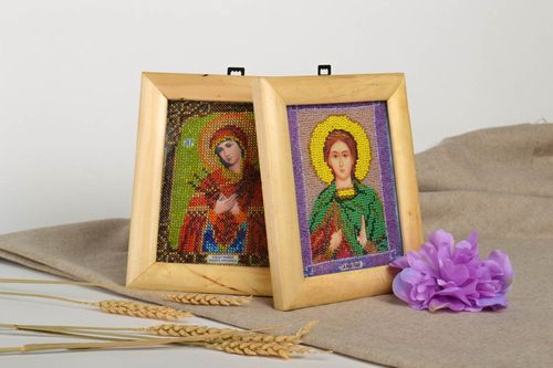 Handmade icon personal icon 2 items unusual gift Orthodox icon icon of saints  - MADEheart.com