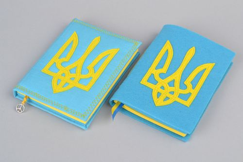 Set of 2 handmade notebooks with fabric covers with Ukrainian coat of arms - MADEheart.com