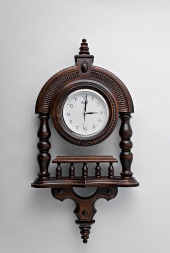 Wooden wall clock with pillars - MADEheart.com