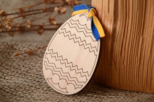 Flat plywood craft blank egg - MADEheart.com