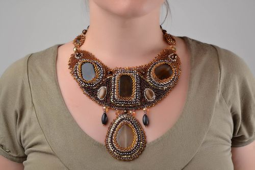 Beautiful massive handmade beaded necklace with natural stones designer jewelry - MADEheart.com