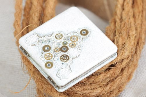 Handmade decorative white womens pocket mirror with details of clock mechanisms - MADEheart.com